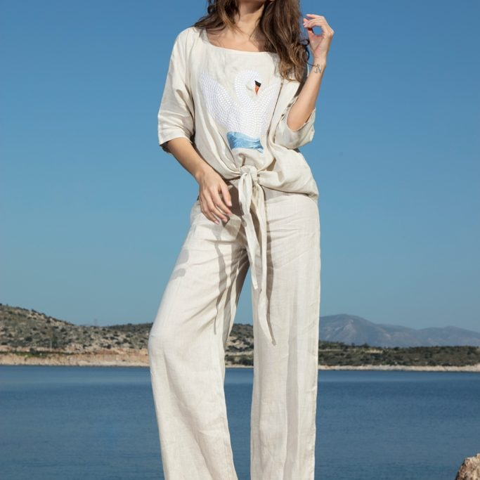 FiA LINEN BLOUSE EMBROIDERY SWAN PANT