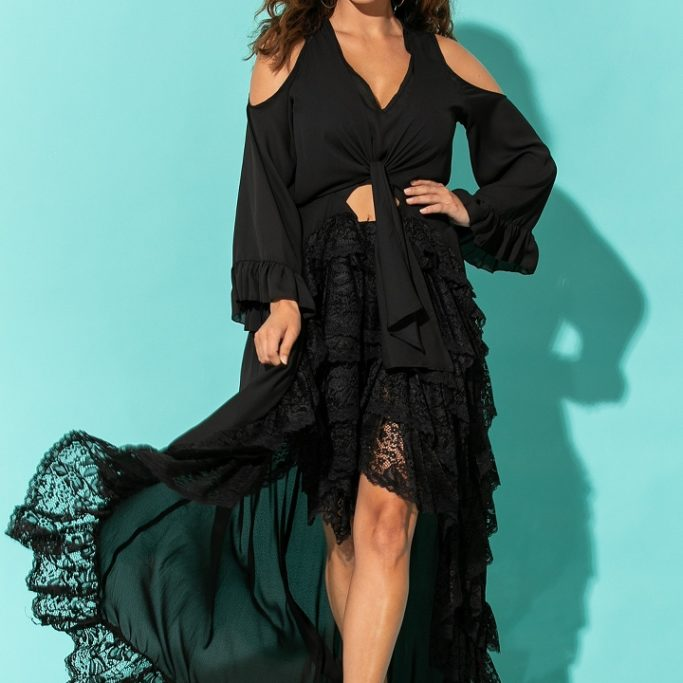 FIA FASHION BLACK DRESS LONG ASYMMETRICAL WITH LACE & FRILL SPANISH STYLESPI_9521_720x1080